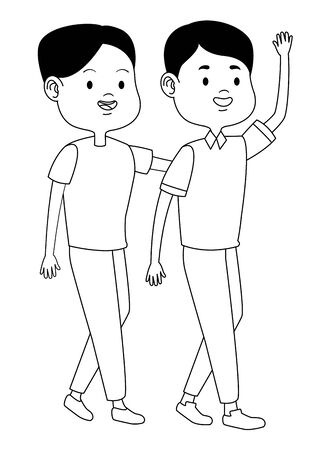 Teenagers friends boy with casual clothes smiling and greeting cartoons ,vector illustration graphic design.