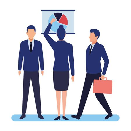 business people businessman carrying a briefcase and businesswoman back view pointing a data chart avatar cartoon character vector illustration graphic design Ilustracja