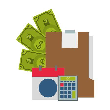 saving money business personal finance balance calculate elements cartoon vector illustration graphic design Illustration