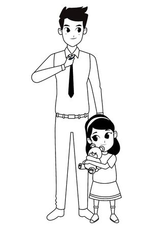 Family single father with little daughter cartoon vector illustration graphic design 일러스트