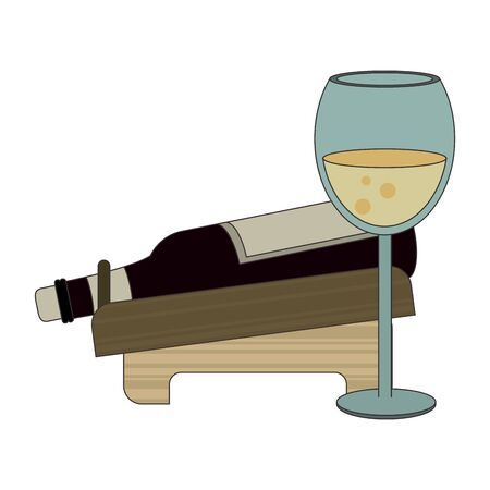 holder with a wine bottle and glass over white background, vector illustration