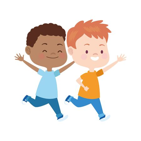 cartoon kids running icon over white background, colorful design. vector illustration