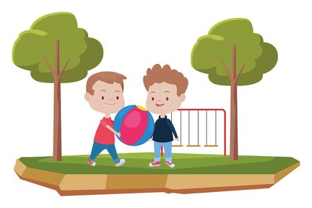 happy kids boys playing and having fun with ball at park with playgrounds ,vector illustration graphic design.