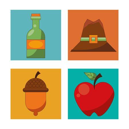 happy thanksgiving day card with bundle icons vector illustration design Illusztráció