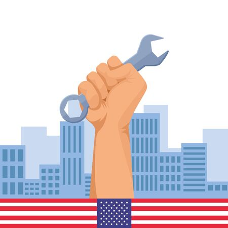 Construction worker hand holding wrench tool over cityscape with united stated flag emblem ,vector illustration graphic design.