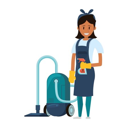 Cleaner woman worker with dustpan and disinfectant vector illustration graphic design.