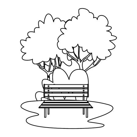 Park with bench and trees cartoon vector illustration graphic design