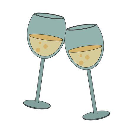 wineglasses icon over white background, vector illustration