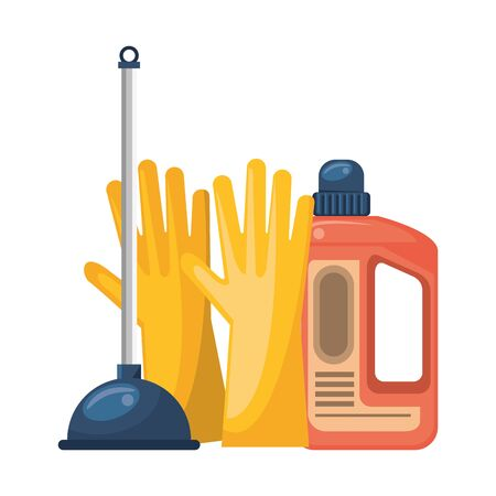 Cleaning equipment and products gloves and toilet pump with soap bottle vector illustration graphic design.