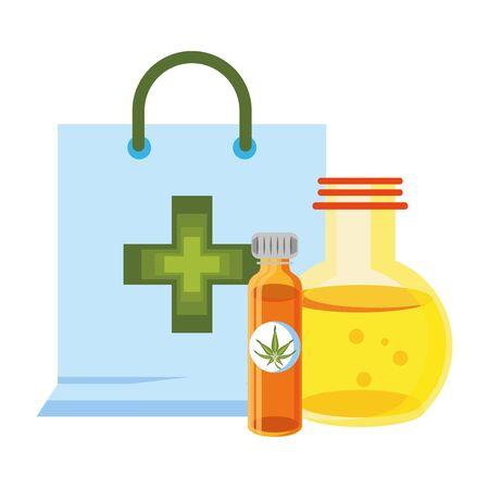 cannabis martihuana medical marijuana medicine sativa hemp oil bottles cartoon vector illustration graphic design Illusztráció