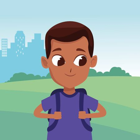 adorable cute young boy face with brown hair happy childhood cartoon in the city park, nature and urban scenery ,vector illustration graphic design.
