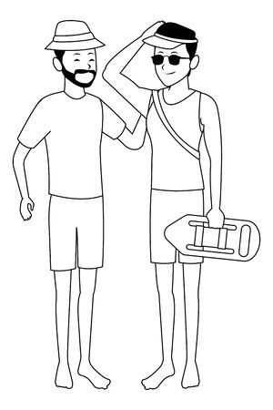 Men Friends enjoying summer with lifeguard float isolated vector illustration graphic design