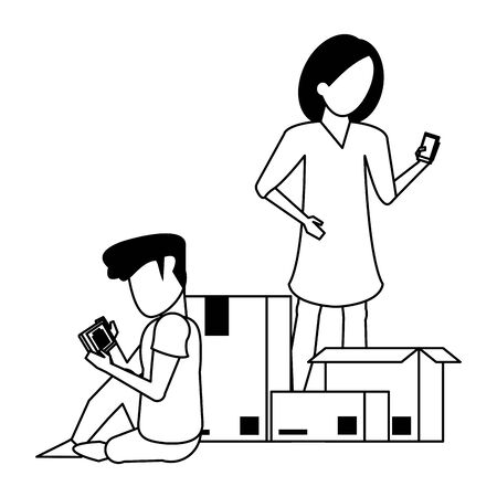 couple using smartphone technology for read delivery and logistic tracing cartoon vector illustration graphic design