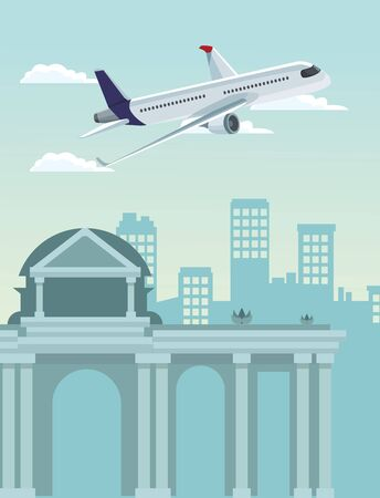 airplane flying over urban city buildings scenary background, colorful design , vector illustration