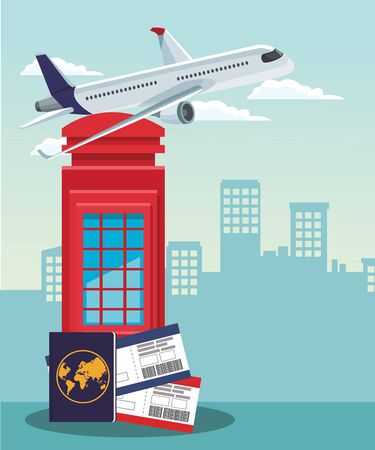 airplane flying and red telephone box with passport and passboards over urban city buildings scenary background, colorful design , vector illustration