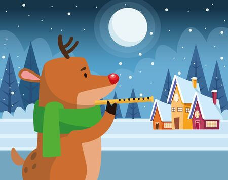 christmas deer playing a flute over winter night background, colorful design , vector illustration