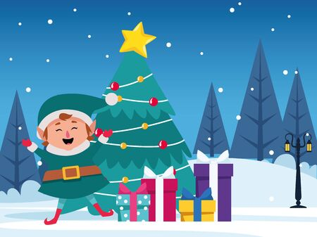 christmas tree with gift boxes and happy cartoon elf over winter night background, colorful design , vector illustration