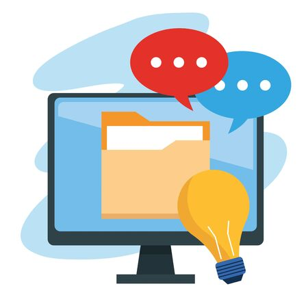 computer with folder and speech bubbles over white background, vector illustration Illustration