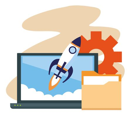 laptop computer and rocket with folder and gear wheel over white background, colorful design , vector illustration