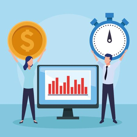 computer and avatar businessman and woman holding up a money coin and chronometer over blue background, colorful design , vector illustration Illustration