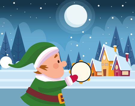 christmas elf playing a musical instrument over houses and winter night background, colorful design , vector illustration Imagens - 134312223