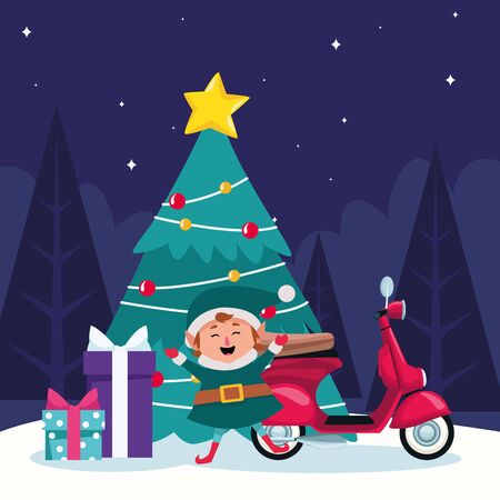 christmas tree with elf, motorcycle and gift bxoxes around over winter night background, colorful design , vector illustration