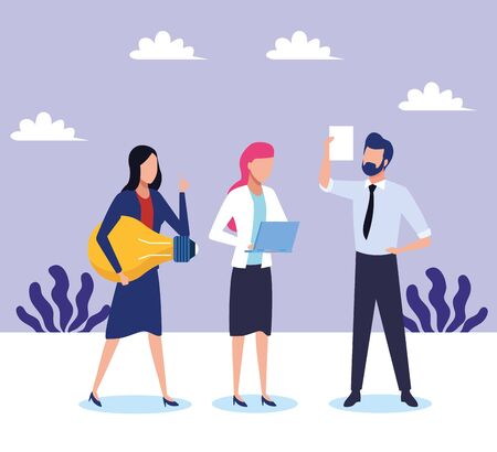 avatar businesswomen and businessman landscape background, colorful design , vector illustration Illustration