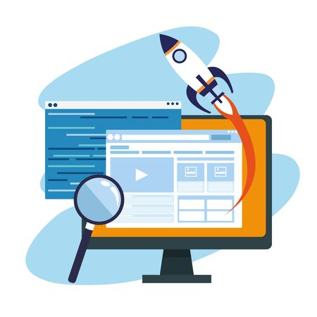 rocket with computer and magnifying glass over blue and white background, colorful design , vector illustration