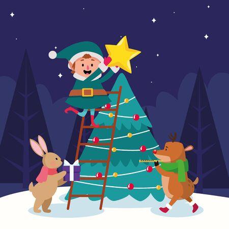 cartoon christmas elf and animals around christmas tree over winter night background, colorful design , vector illustration Imagens - 134313084