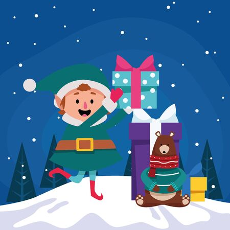 cartoon christmas elf and grizzly bear with gift boxes over winter night background, colorful design , vector illustration Imagens - 134313264