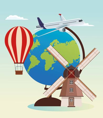 hot air balloon and airplane with globe and windmill over sky background, colorful design , vector illustration Zdjęcie Seryjne - 134314058