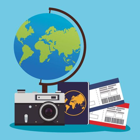 globe and camera with passboards and passport with over blue background, colorful design , vector illustration