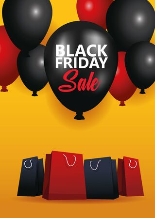 black friday sale poster with shopping bags and balloons helium vector illustration
