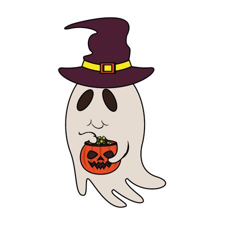 halloween october scary celebration, witch hat with ghost holding pumpkin pot cartoon vector illustration graphic design Stock fotó - 134314089
