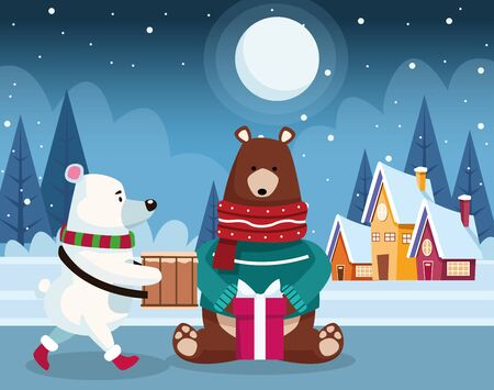 christmas polar bear and grizzly bear with gift box over winter night background, colorful design , vector illustration Illustration