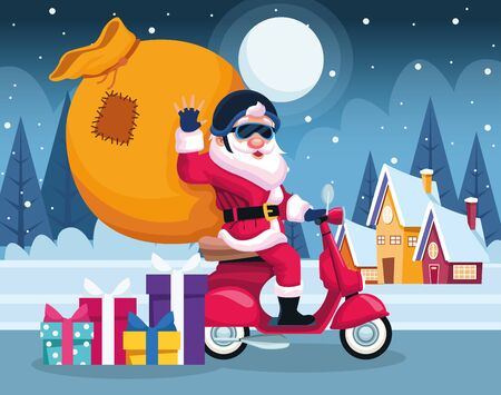 cool santa claus on a motorcycle with big bag over snowy night background, colorful design , vector illustration