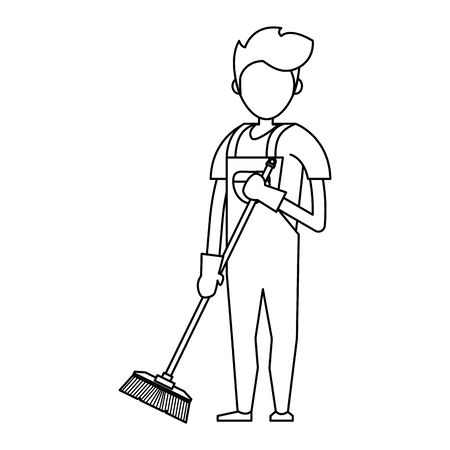 Cleaner worker man smiling with cleaning products and equipment vector illustration graphic design. Ilustracja