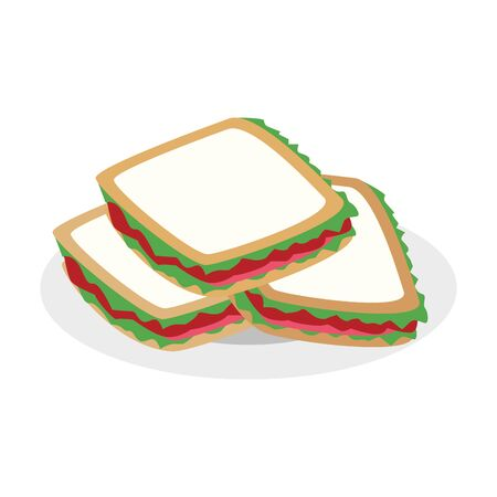 plate with sandwiches icon over white background, vector illustration