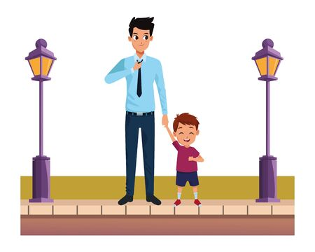 Family single father and little son smiling cartoon on the street urban scenery ,vector illustration graphic design. Ilustração
