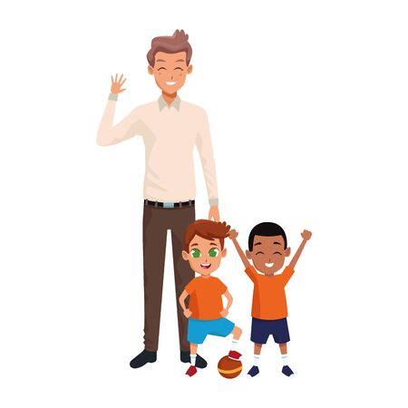 cartoon man with happy little boys standing over white background, vector illustration