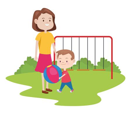 cute mother and son in the park vector illustration design