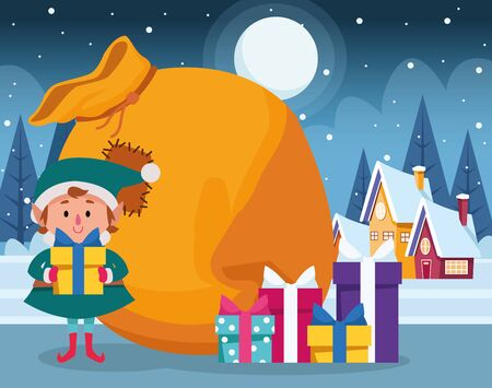 christmas elf with gift boxes and big bag over winter night background, colorful design , vector illustration