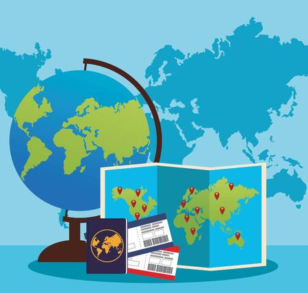 globe and world map with passport and passboards over blue world map background, colorful design , vector illustration Zdjęcie Seryjne - 134311782