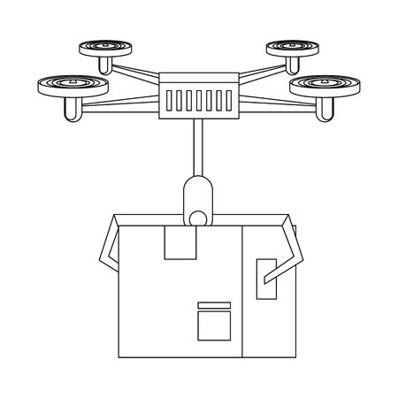 air drone remote control technology device delivery and logistic process with cardboard box cartoon vector illustration graphic design Illustration