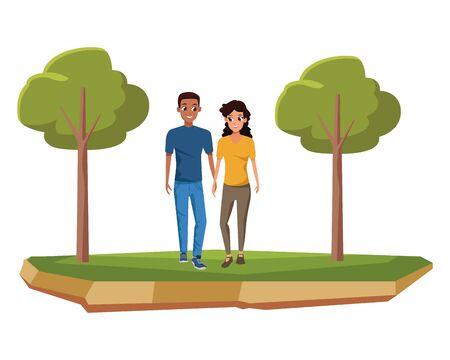 Pareja joven novio y novia smiiling y dibujos animados caminando en el parque diseño gráfico de ilustración vectorial Ilustración de vector