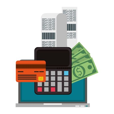 Online shopping and payment laptop with credit card calculator and bill symbols vector illustration graphic design