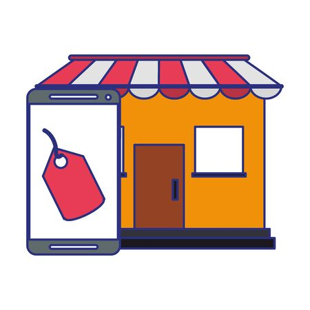 Online shopping and payment smartphone and store shop building symbol vector illustration graphic design Illustration