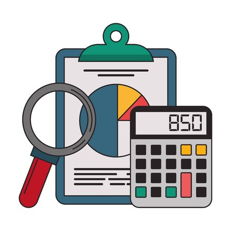 Office clipboard calculator and magnifying glass symbols vector illustration graphic design Vektoros illusztráció