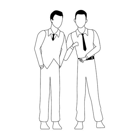 cartoon men standing wearing vintage clothes over white background, vector illustration