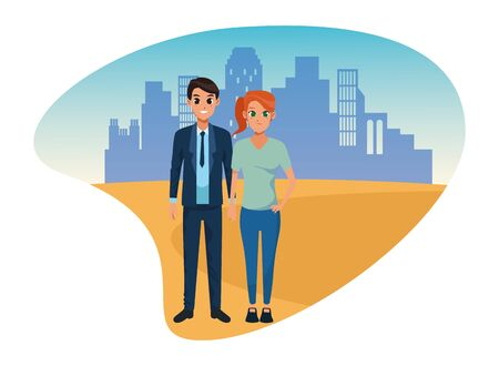 Young executive man and woman couple smiling and greeting cartoon in the city urban scenery vector illustration graphic design. 일러스트